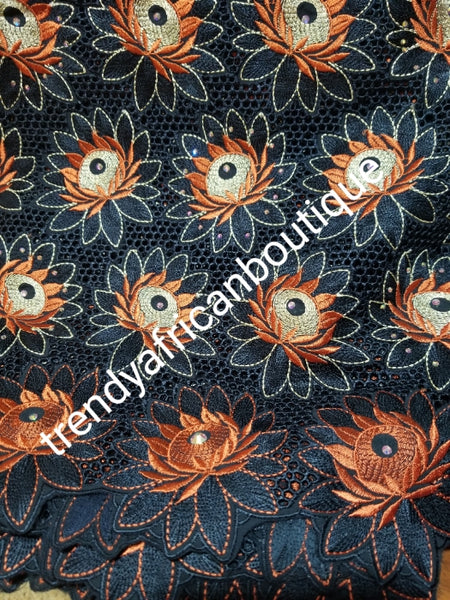 Sold with matching Gele. Exclusive swiss lace fabric Black/burnt Orange/beige swiss lace for African/ Nigerian outfit. soft beautiful design. Sold per 5yds + free gele