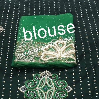 Ready to ship: Emerald Green Latest VIP hand beaded and stoned Nigerian traditional Celebrant George wrapper with matching blouse. Niger/Delta/Igbo women Georges. Quality George wrapper for high society party. Sold as set of 2 wrapper +1.8yds blouse