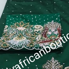 Ready to ship: bottle green first Lady/VIP hand beaded and stoned Nigerian traditional Celebrant George with matching blouse. Niger/Delta/Igbo women Georges. Exclusive Side beaded design wrapper, Sold as a set of 2 wrapper +1.8yds matching net for blouse