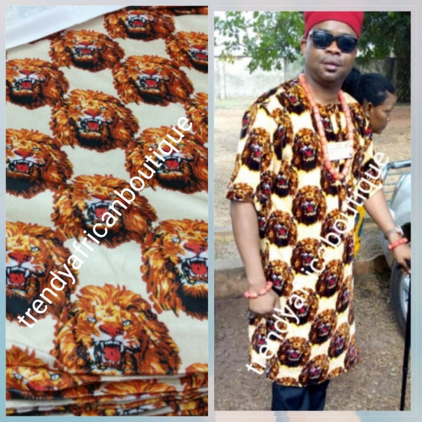 Quality beige/Gold/red  Isi-agu Igbo traditional wrapper use for men shirt or women wrapper. Sold per yard, price is for one yard. Nigerian/igbo ceremonia fabric. Soft texture velvet mix, authentic isi-agu fabric for Igbo title ceremony.