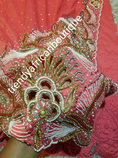 Special offer: coral pink first Lady/VIP hand beaded and stoned Nigerian traditional Celebrant George with matching blouse. Niger/Delta/Igbo women Georges. Exclusive Side beaded design wrapper, Sold as a set of 2 wrapper +1.8yds matching net for blouse