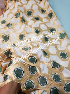 Clearance  Give away price: Gold/olive green  Swiss Embriodery Lace fabric with clear crystal stones. Great quality and texture. Sold per 5yds. Price is for 5yds. African lace for making party outfit. Unisex color