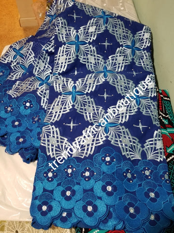 Clearance Give away price: royal blue Swiss Embriodery Lace fabric with clear crystal stones. Great quality and texture. Sold per 5yds. Price is for 5yds. African lace for making party outfit. Unisex color