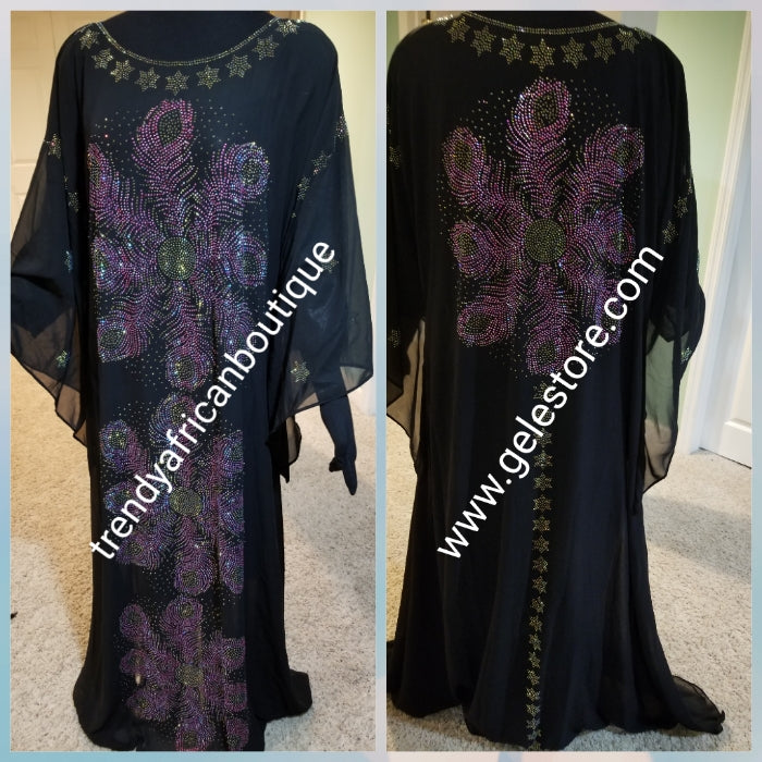 Ready to ship: Black dubai kaftan  dress. free flowing embellished with Multi color Swarovski stones front and back dress to perfection. Availablein size, M,L,XL and XXL.. Chiffon includes headtie. 60' long