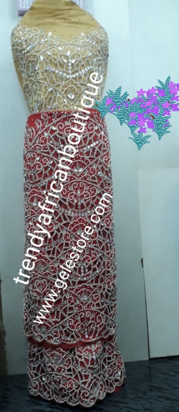 Exclusive VIP hand beaded and stoned George wrapper. Produce-per-order George Wrapper  in your choice of color. Hand made hand cut stone work. 2.5yds + 2.5yds + 1.8 yds matching net blouse. Allow 3-5 weeks for production. Best quality work Guaranteed!!!