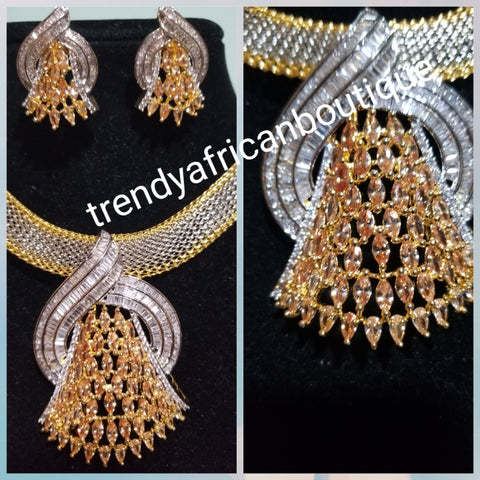 2pcs 22k quality 2 tone  Gold electroplating in choker set. Sold as a set. Pendant is mounted with gold and crystal CZ diamond stones. Top quality/hypo allergenic plating