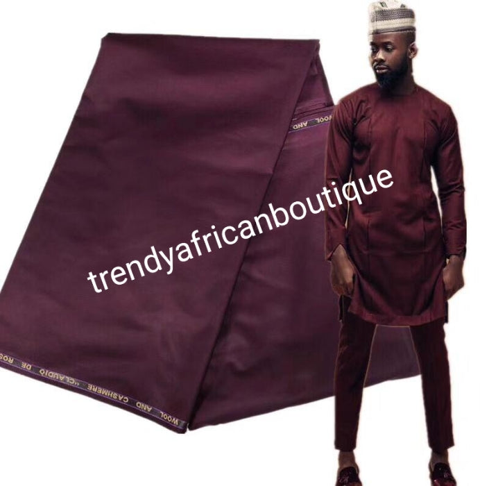 Maroon red color cashmere/wool blend quality  swiss voile lace fabric for Nigerian/African Men native outfit. Soft quality fabric.  Sold per 5yds. Price is for 5yds