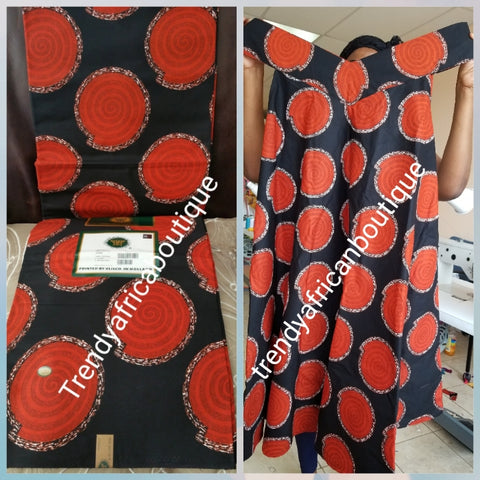 Beautiful African cotton  Wax print fabric in black/orange. High quality Ankara print. Sold per 6yds.