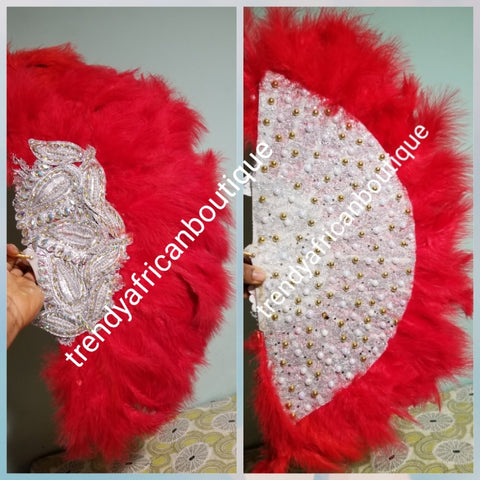Ready to ship Red Feather hand fan.front and back design. Medium size moon shape.  Bridal-accessories design with gold beads and flower petal. Limited quantity.