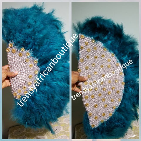 Ready to ship teal green Feather hand fan.front and back design. Medium size moon shape.  Bridal-accessories design with gold beads and flower petal. Limited quantity.