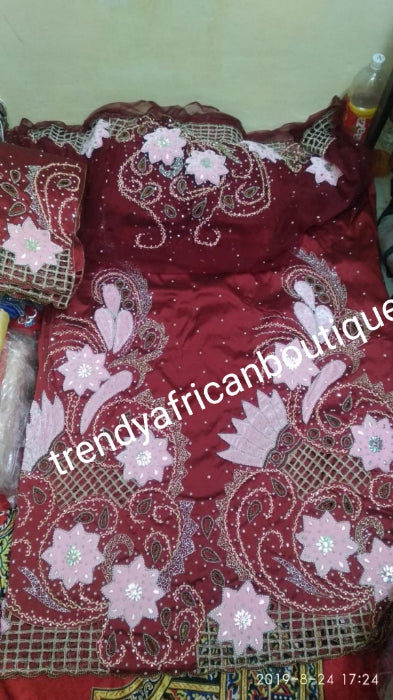 Ready to ship. Exclusive design wine Madam/celebrant Nigerian George wrapper.  2.5yds + 2.5yds + 1.8yds matching net  for blouse. Tradtional Igbo/Delta Bridal outfit. Wine taffeta with pink velvet accent
