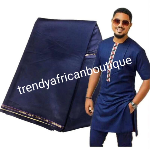 Navy blue cashmere/wool blend quality  swiss voile lace fabric for Nigerian/African Men native outfit. Soft quality fabric.  Sold per 5yds. Price is for 5yds
