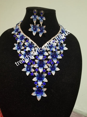 Clearance sale: royal blue/silver Crystals 2pcs wedding necklace set for weddings/big event. Beautiful necklace and matching earrings. Costume jewelry set in dazzlying crystal in 18k gold plating. Nigerian traditional wedding accessories