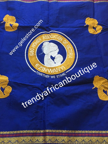 Produce-per-Order. Intorica embriodery George with your Logo of choice. 4 weeks production. 8yds/piece. Niger/Igbo/Delta Association George. Minimum order per design 40pcs