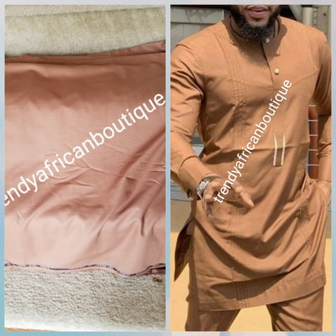 Golden brown cashmere + wool blend quality  swiss voile lace fabric for Nigerian/African Men native outfit. Soft quality fabric.  Sold per 5yds. Price is for 5yds