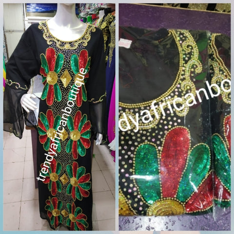 Ready to ship: Black dubai kaftan  dress. free flowing embellished with sequence stone front and back dress to perfection. Availablein size is XXL. Chiffon includes headtie. Front and back design 60' long