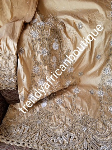 Back in stock: GOLD VIP taffeta silk  George wrapper. For Nigerian traditional weddings.  hand stoned/beaded Niger/delta/Igbo traditional outfit. (2) 2.5yds wrapper + 1.8yds net for blouse