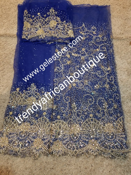 Produce-per-order Gorgeous hand beaded and stoned Igbo Traditonal Bridal wedding George Wrapper and matching net blouse. Full 2.5yds hand stoned + 2.5yds border stoned work + 1.8yds matching net blouse. 3-4 weeks to produce any color of your choice