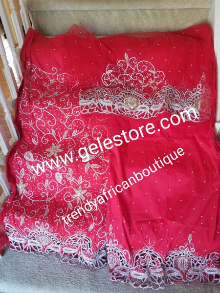 Ready to ship. Exclusive Red VIP Madam/celebrant George wrapper. Embellished with white dazzling crystals and bead work, hand cut border. Special occasion wrapper. 2.5yds + 2.5yds + 1.8yds net for blouse. Niger/Igbo/Delta Bridal outft