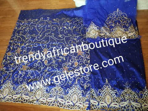 Ready to ship. Royal blue VIP Celebrant Nigerian women George wrapper. Niger/Igbo/delta quality  beads and dazzled crystal stones for special occasion. 2.5yds + 2.5yds + 1.8yds net blouse. Feel the difference in quality!! Exclusive design for Bride.