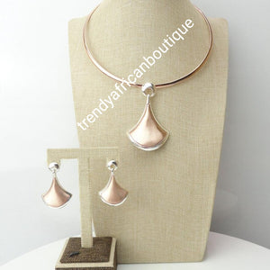 Rose Gold + silver 2 tone  18k rose gold  plated, 3 pcs pendant set. Top quality  African costume choker necklace set. Long lasting plating, hyoid allergenic plating