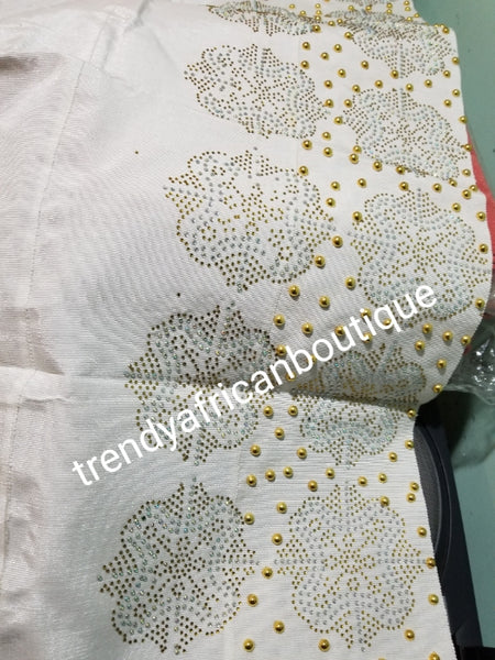 "Classic  White Bedazzled aso-oke, Nigerian woven traditional Aso-oke for making beautiful head wrap. Beaded + Gold Swarovski stones work for perfect headwrap finish. Gele only. Extra wide gele for bigger head wrap. 72"" long × 26"" wide"