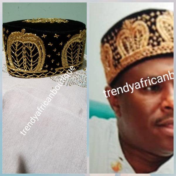 Cap for the Royals!! Black Igbo Traditional cap (Aka Cap) for ceremonial dress. Men-cap in black suede with gold embroidery. Available in 3 sizes 22, 23,  24 & 25