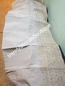 "Pretty Silver  Bedazzled aso-oke. Nigerian woven traditional Aso-oke for making beautiful head wrap. Beaded and Swarovski stones work for perfect headwrap finish. Gele only. Extra wide gele for bigger head wrap. 72"" long × 26"" wide"