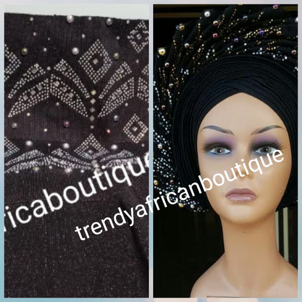 Black aso-oke gele beaddazzled with crystals stones and white pearls. Sold as Gele only. Nigerian Traditional Aso-oke head wrap. Buy gele only or Gele+ black fila for making hubby cap