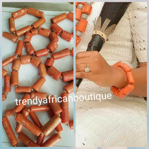 Back in Stock Nigerian Traditional Bridal Accessories, Coral bead Bracelet. Original quality. Made with real bamboo coral beads. Use by men and women. Coral color. Coral-necklace also available. One size fit most wrist