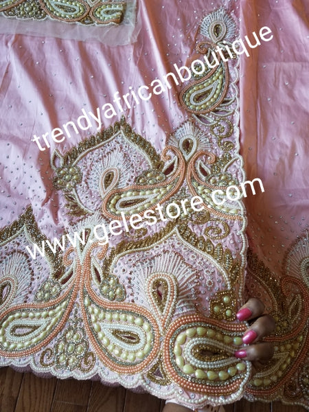 Peach VIP Hand  beaded and crystal Stoned Silk George wrapper, champagne net for blouse.  Nigerian, Igbo/Delta traditional wedding out fit. Sold as full 2.5yds with side border design + 2.5yds + 1.8yds matching net for blouse. Quality taffeta silk!