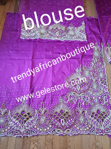 Magenta VIP Hand  beaded and crystal Stoned Silk George wrapper, champagne net for blouse.  Nigerian, Igbo/Delta traditional wedding out fit. Sold as full 2.5yds with side border design + 2.5yds + 1.8yds matching net for blouse. Quality taffeta silk!