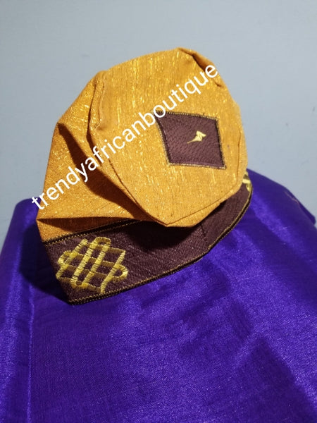 "New arrival Gold/chocolate Agbada men-Cap for Nigerian men Native wear. Made with Aso-oke with embroidery border. Size 25"" head circumference"