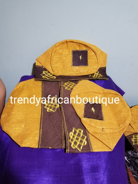 "Gold/chocolate Agbada men-Cap for Nigerian men Native wear. Made with Aso-oke with embroidery border. Size 24"" head circumference"