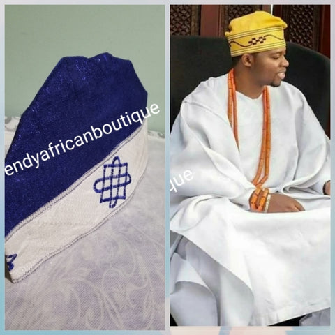 "New arrival Roal blue/white Agbada men-Cap for Nigerian men Native wear. Made with Aso-oke with embroidery border. Size 24""  head circumference"