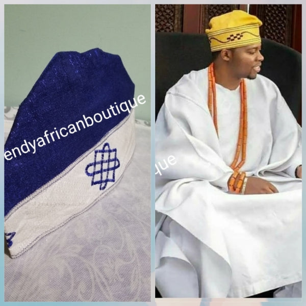 "New arrival Roal blue/white Agbada men-Cap for Nigerian men Native wear. Made with Aso-oke with embroidery border. Size 25"" head circumference"