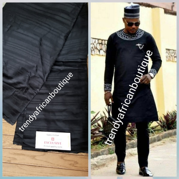 Sale sale: Top quality  Black swiss voile lace fabric for Nigerian Men native outfit. Soft quality fabric. Can be use for agbada/3pc outfit for men. Sold per 5yds. Price is for 5yds