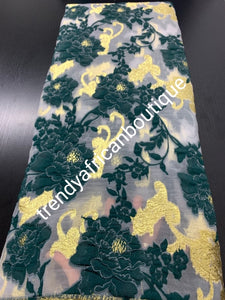 Beautiful  emerald green organza  french lace fabric/gold lurex.  latest design. Sold per 5yds. Nigerian/African french lace for making party outfit. Soft texture, luxurious design