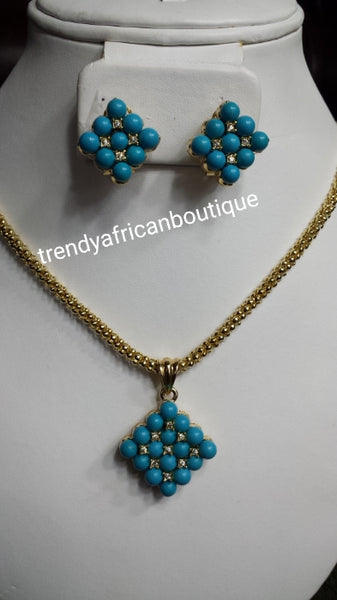 18k Gold plated pendant/earrings turquoise set. Small beautiful pendant set for every day wear