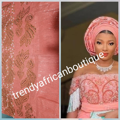 New arrival classic Peach Bedazzled Aso-oke Gele headtie.  4 wide for making  bigger gele. classic Latest design of Nigerian Traditional aso-oke. Original aso-oke + Stone work