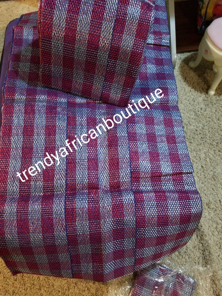 Clearance:  Quality Nigerian woven aso-oke set for traditional wedding/party head tie. royalblue/fuschia pink aso-oke. Soft easy to tie