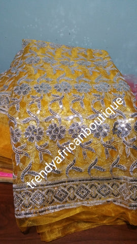 Clearance: Mustered yellow/silver sequence net French lace fabric for making Blouses for wrapper or dresses. Igbo/Delta/Edo women blouse fabric. This is about 2yrds total piece for sale. Can be use to combination style. 4.8yds. Lenght is left