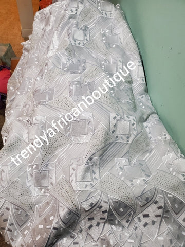 Sale Sale: Big White/White swiss lace fabric for Nigerian party. Celebrant with all over embriodery and crystal stones embellishments. 5ydss only and price is for the 5yds. Soft Luxurious texture
