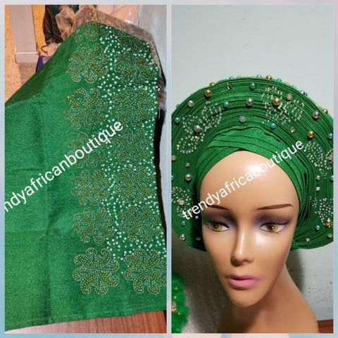 Sweet Green bedazzled Aso-oke for making  latest stylish Gele (headtie). Latest design of Nigerian Traditional aso-oke. Excellent quality. Extra wide width aso-oke for big head tie