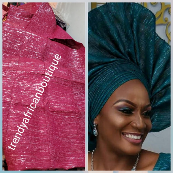 Latest metalic  glitter  aso-oke in fuschia pink with silver color shine. Gele only extra wide width for making latest stylish Nigerian traditional head wrap.