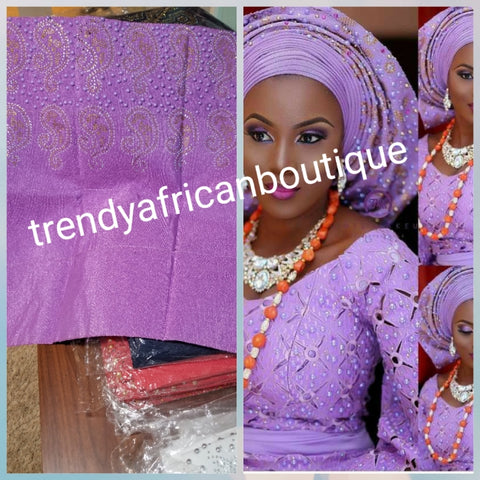 "Classic Lilac Bedazzled aso-oke. Nigerian woven traditional Aso-oke for making  beautiful head wrap. Beaded and Swarovski stones work for perfect headwrap finish. Gele only. Extra wide gele for bigger head wrap. 72"" long × 26"" wide"