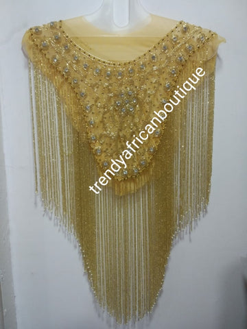 Champagn/gold beaded/crystal stones net for making wedding blouses or blouse combination. Popularly use by Igbo/Delta/edo women for big Occasions. Comes front & back design  for your beautiful blouse
