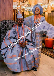 Latest Aso-oke set for Nigerian Traditional ceremonies such as weddings, Gray/orange Swarovski stones embellishment. Make-to-order only. Custom-made design. Allow 6-8 weeks for order process. Can be produce in any color of choice