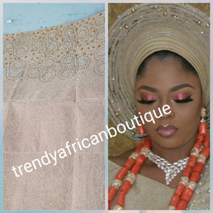 New arrival classic champagne Gold Bedazzled Aso-oke Gele headtie.  4 wide for making  bigger gele. classic Latest design of Nigerian Traditional aso-oke. Original aso-oke + Stone work. Great texture and easy to make into stylish gele