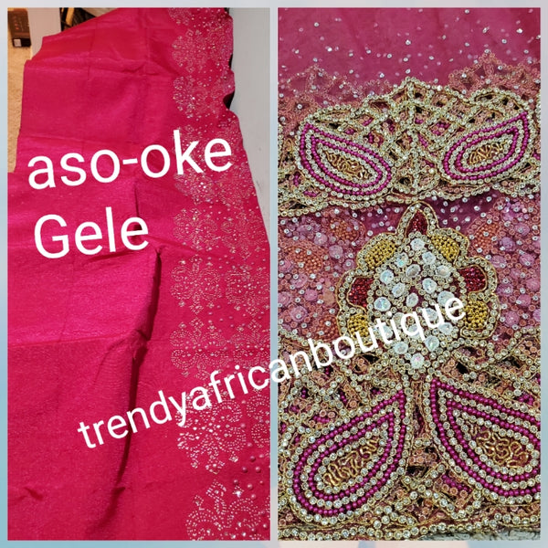 Bonus sale: Exclusive fully loaded Super quality Hot pink  VIP Madam Net George wrapper for Nigerian bridal/Celebrant outfit.  all over hand beaded + crystal stones 2.5yds+ 2.5yds + 1.8yds + bedazzled aso-oke gele. Sold as a set.